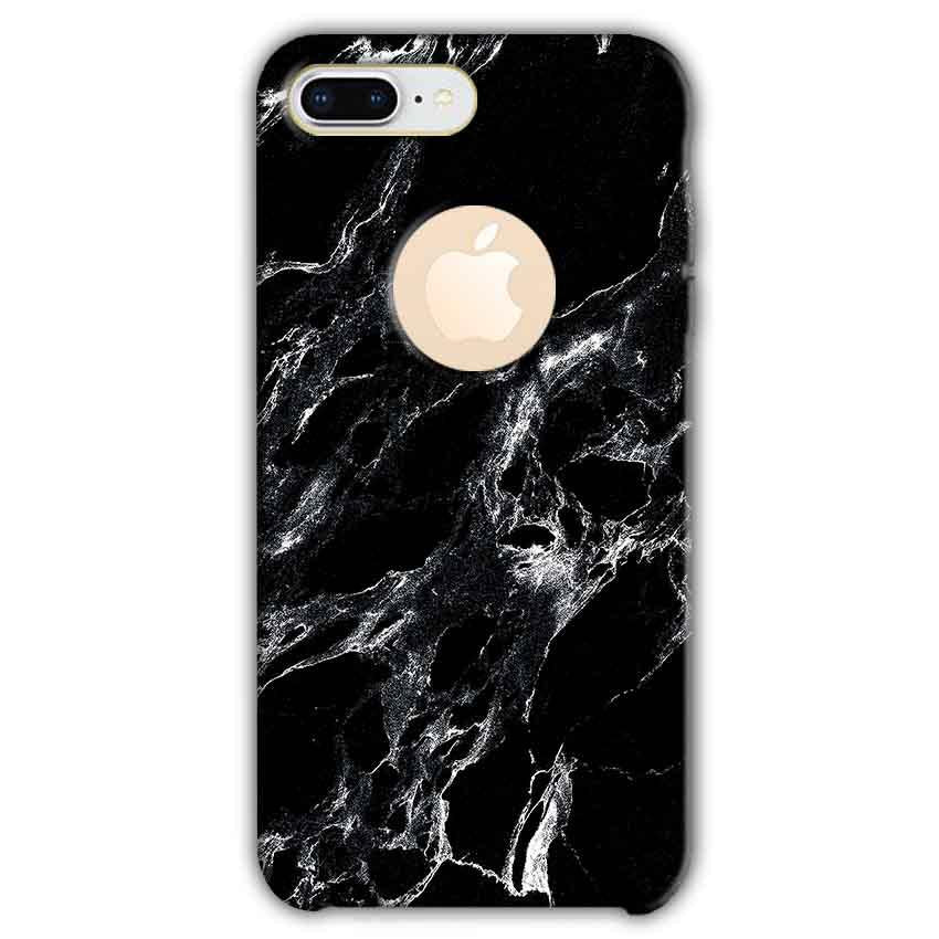 Apple iphone 8 Plus With Apple Cut Mobile Covers Cases Pure Black Marble Texture - Lowest Price - Paybydaddy.com