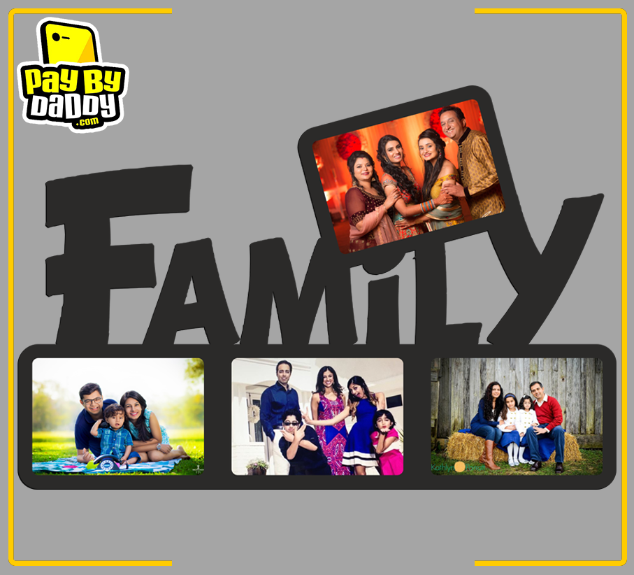Customised Family 4 Photos Wooden/Acrylic Photo Frames