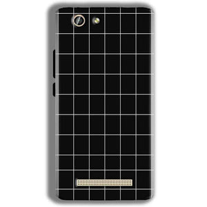 Gionee F103 Pro Mobile Covers Cases Black with White Checks - Lowest Price - Paybydaddy.com