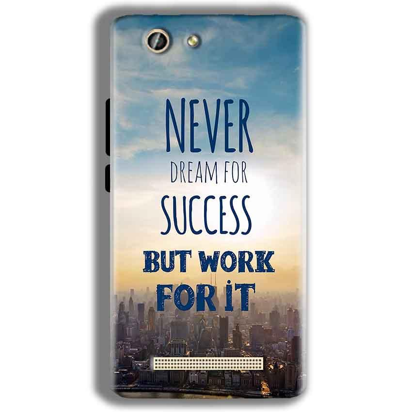 Gionee F103 Pro Mobile Covers Cases Never Dreams For Success But Work For It Quote - Lowest Price - Paybydaddy.com