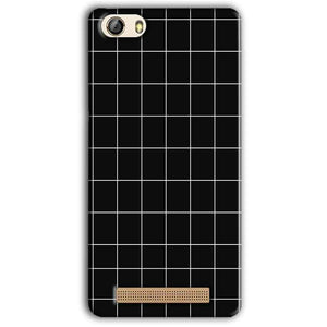 Gionee M5 Lite Mobile Covers Cases Black with White Checks - Lowest Price - Paybydaddy.com