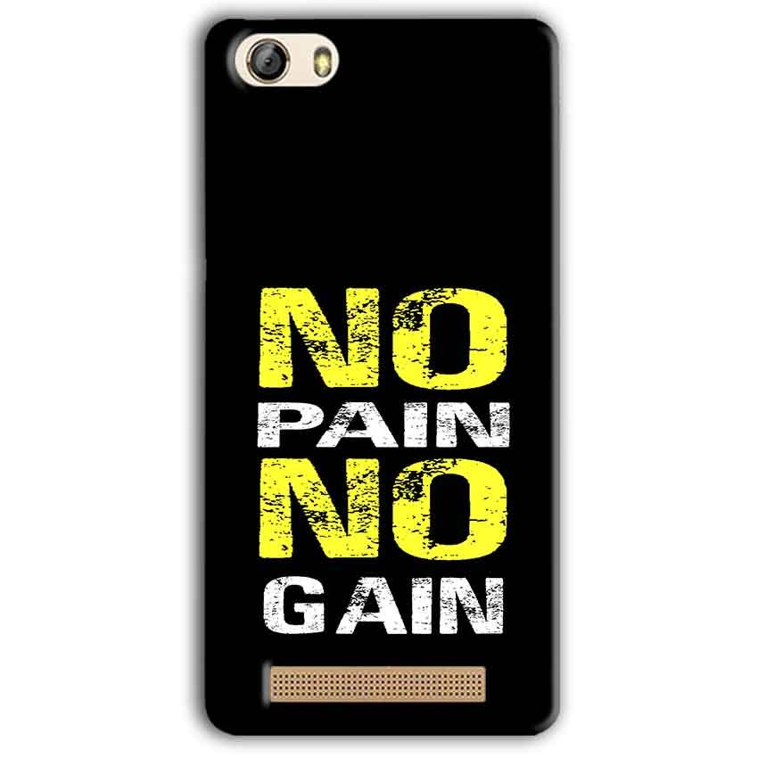 Gionee M5 Lite Mobile Covers Cases No Pain No Gain Yellow Black - Lowest Price - Paybydaddy.com