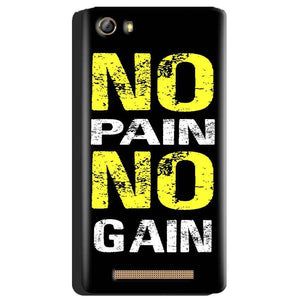 Gionee Marathon M5 Mobile Covers Cases No Pain No Gain Yellow Black - Lowest Price - Paybydaddy.com