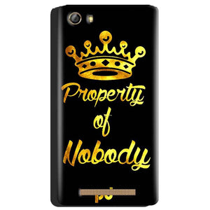 Gionee Marathon M5 Mobile Covers Cases Property of nobody with Crown - Lowest Price - Paybydaddy.com