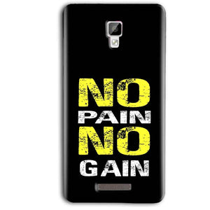 Gionee P7 Max Mobile Covers Cases No Pain No Gain Yellow Black - Lowest Price - Paybydaddy.com