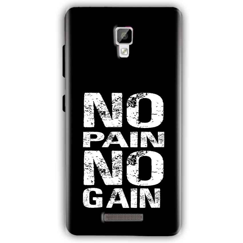 Gionee P7 Mobile Covers Cases No Pain No Gain Black And White - Lowest Price - Paybydaddy.com