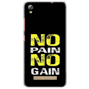 Gionee Pioneer P5L Mobile Covers Cases No Pain No Gain Yellow Black - Lowest Price - Paybydaddy.com