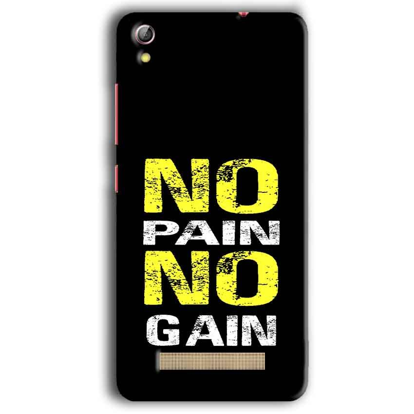 Gionee Pioneer P5W Mobile Covers Cases No Pain No Gain Yellow Black - Lowest Price - Paybydaddy.com