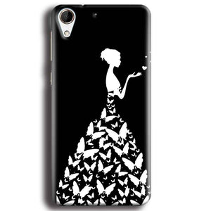 HTC Desire 728 Mobile Covers Cases Butterfly black girl - Lowest Price - Paybydaddy.com