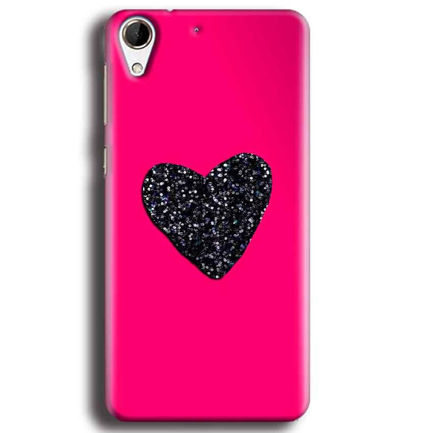 HTC Desire 728 Mobile Covers Cases Pink Glitter Heart - Lowest Price - Paybydaddy.com