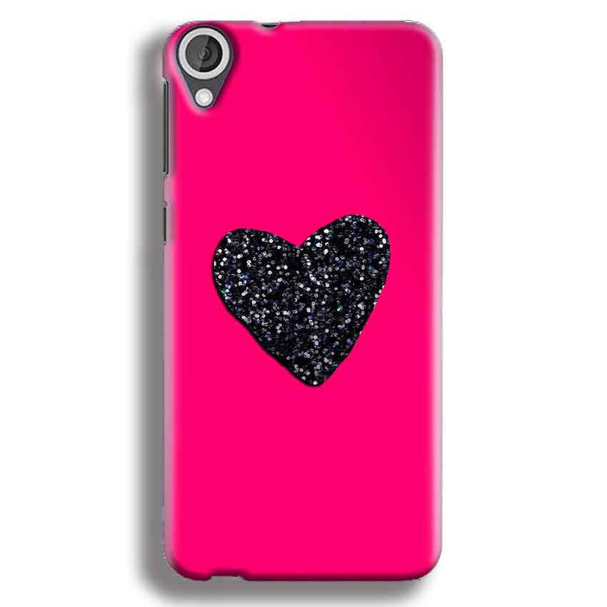 HTC Desire 820 Mobile Covers Cases Pink Glitter Heart - Lowest Price - Paybydaddy.com