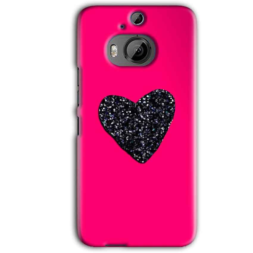 HTC One M9 Plus Mobile Covers Cases Pink Glitter Heart - Lowest Price - Paybydaddy.com