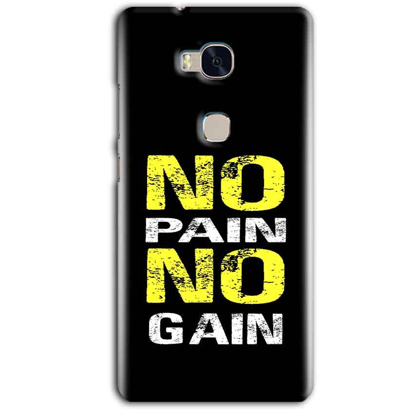 Huawei Honor 5X Mobile Covers Cases No Pain No Gain Yellow Black - Lowest Price - Paybydaddy.com