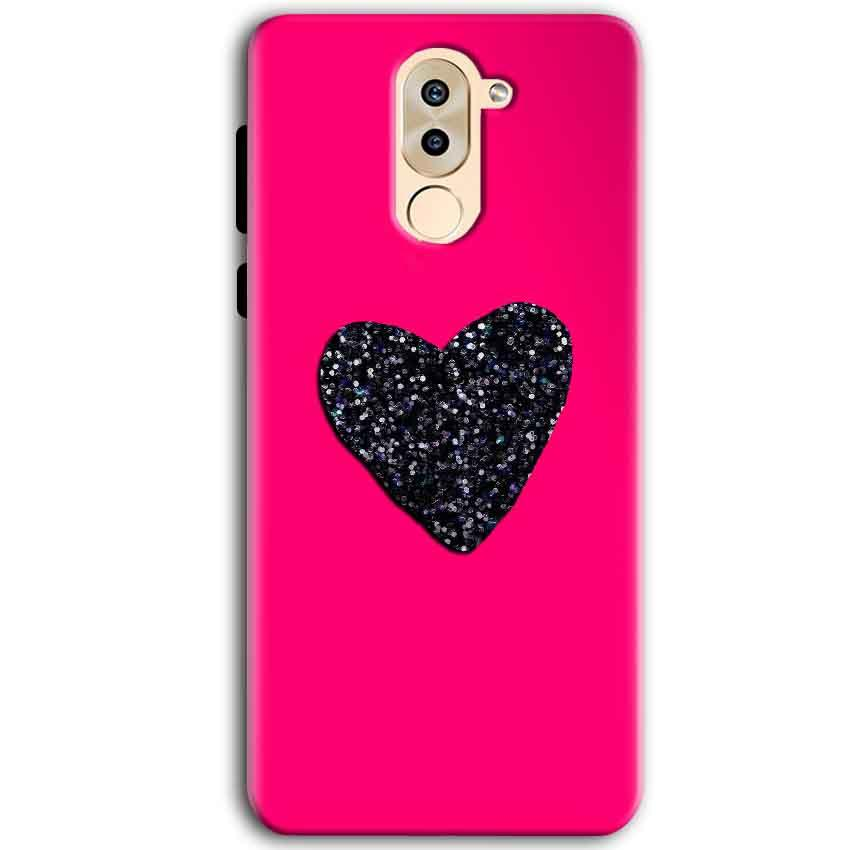 Huawei Honor 6X Mobile Covers Cases Pink Glitter Heart - Lowest Price - Paybydaddy.com