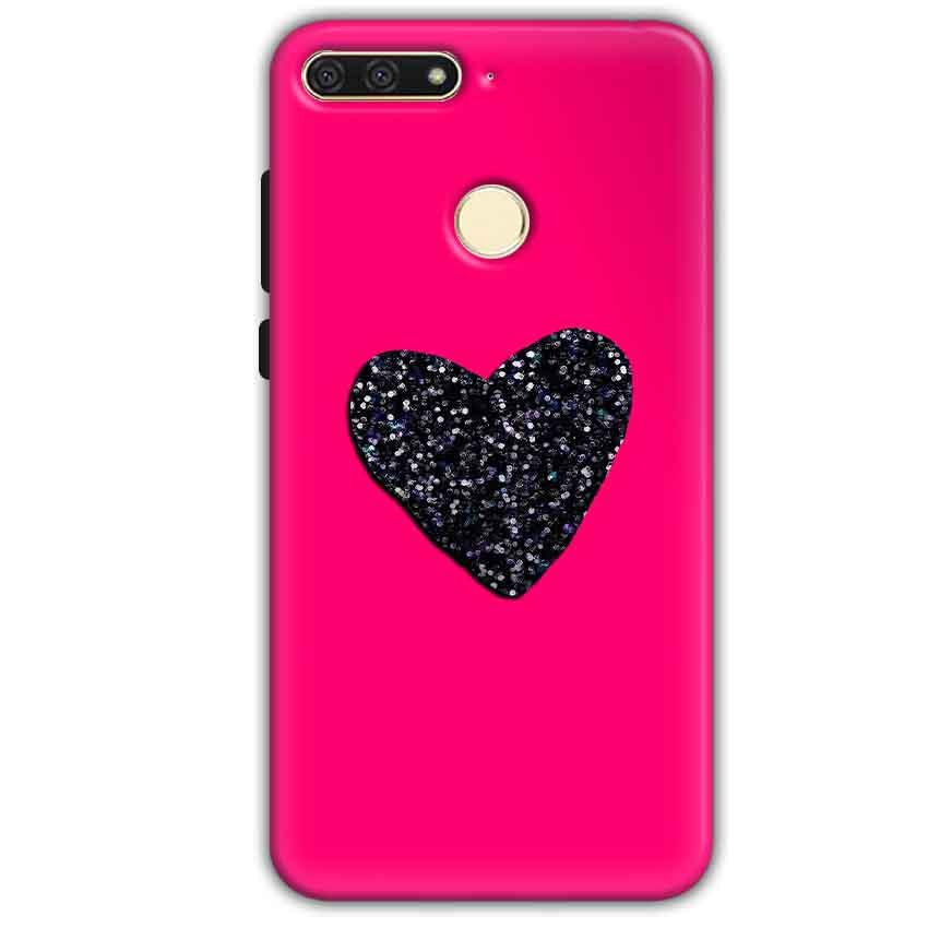 online store 654be aaf8e Huawei Honor 7A Pink Glitter Heart Back Cover