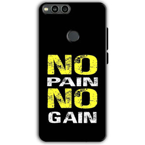 Huawei Honor 7X Mobile Covers Cases No Pain No Gain Yellow Black - Lowest Price - Paybydaddy.com