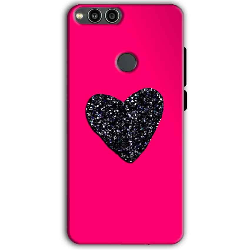 Huawei Honor 7X Mobile Covers Cases Pink Glitter Heart - Lowest Price - Paybydaddy.com