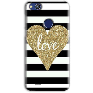 Huawei Honor 8 lITE Mobile Covers Cases Golden Heart With Love - Lowest Price - Paybydaddy.com