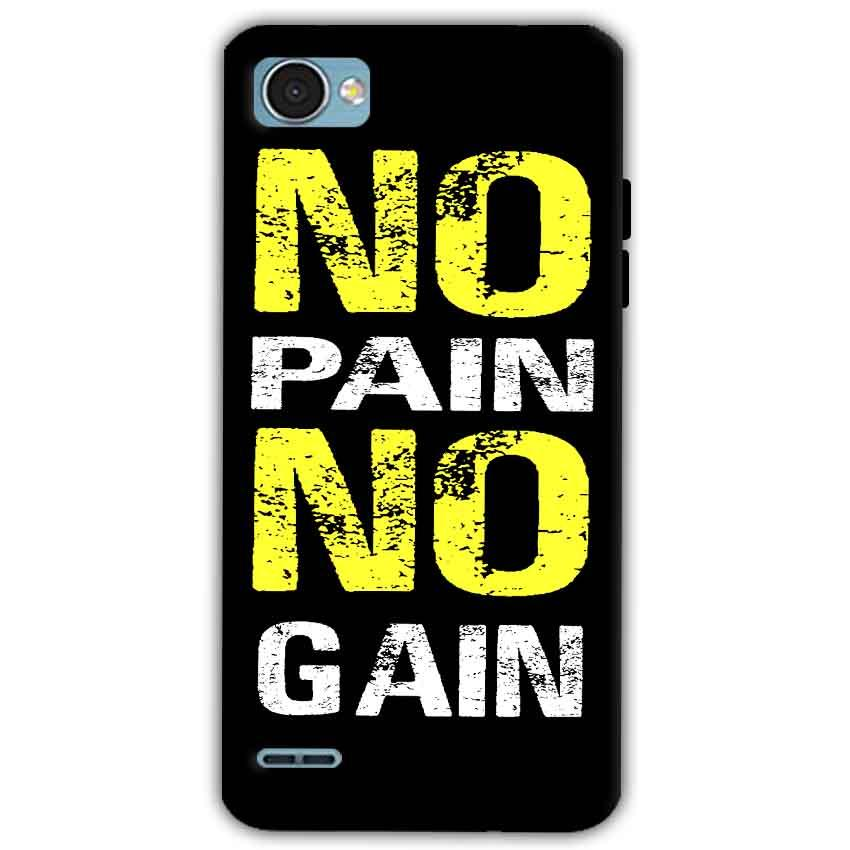 LG Q6 Mobile Covers Cases No Pain No Gain Yellow Black - Lowest Price - Paybydaddy.com