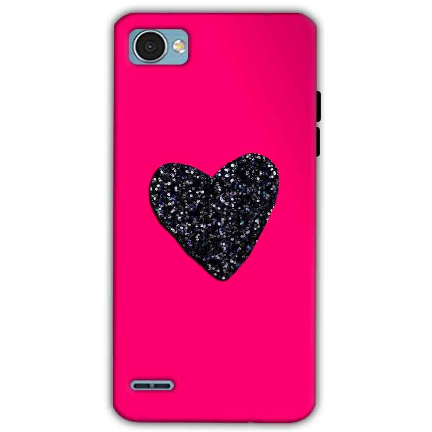 LG Q6 Mobile Covers Cases Pink Glitter Heart - Lowest Price - Paybydaddy.com