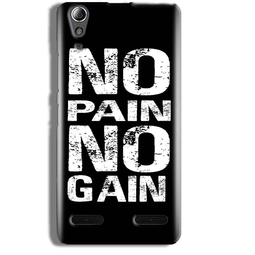 Lenovo A6000 Mobile Covers Cases No Pain No Gain Black And White - Lowest Price - Paybydaddy.com
