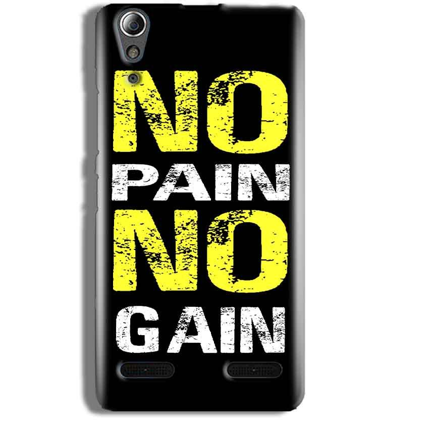 Lenovo A6000 Mobile Covers Cases No Pain No Gain Yellow Black - Lowest Price - Paybydaddy.com
