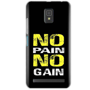 Lenovo A6600 Mobile Covers Cases No Pain No Gain Yellow Black - Lowest Price - Paybydaddy.com