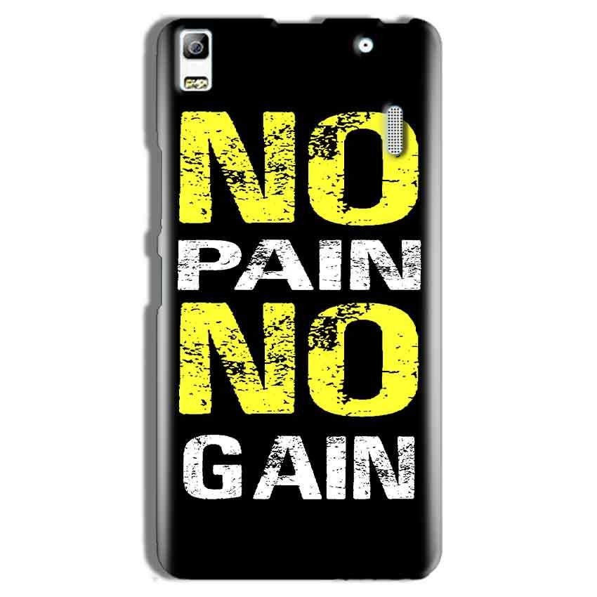 Lenovo A7000 Mobile Covers Cases No Pain No Gain Yellow Black - Lowest Price - Paybydaddy.com