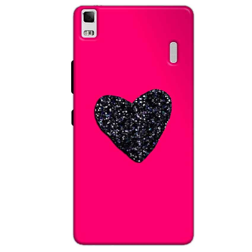Lenovo K3 Mobile Covers Cases Pink Glitter Heart - Lowest Price - Paybydaddy.com