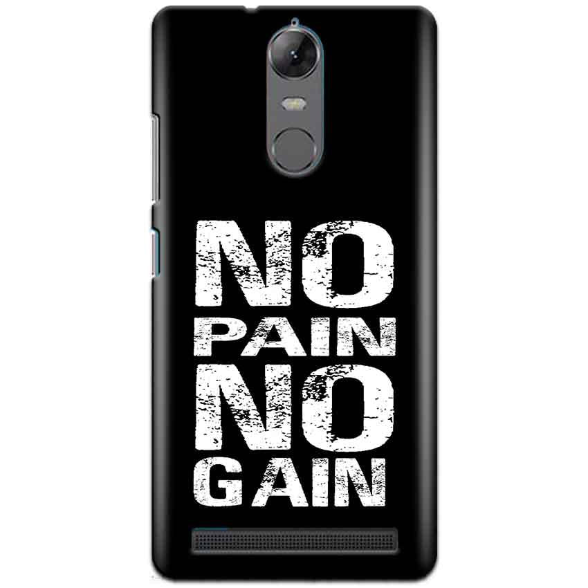 Lenovo K5 Note Mobile Covers Cases No Pain No Gain Black And White - Lowest Price - Paybydaddy.com