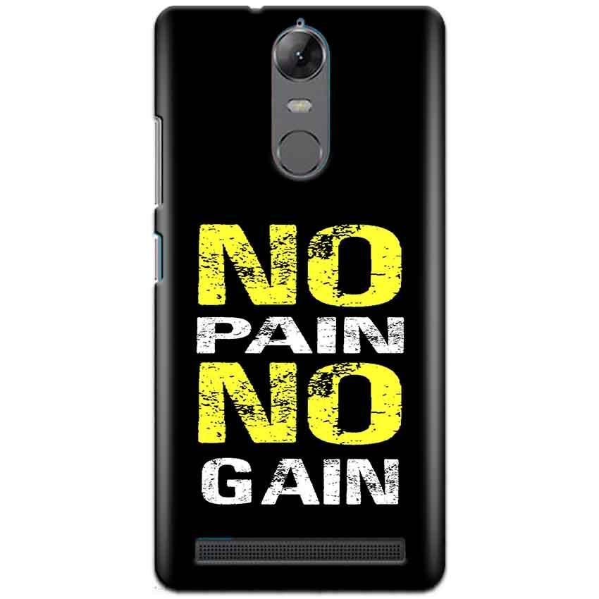 Lenovo K5 Note Mobile Covers Cases No Pain No Gain Yellow Black - Lowest Price - Paybydaddy.com