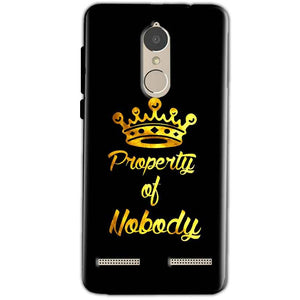 Lenovo K6 Power Mobile Covers Cases Property of nobody with Crown - Lowest Price - Paybydaddy.com