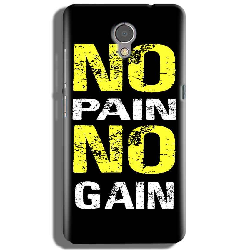 Lenovo P2 Mobile Covers Cases No Pain No Gain Yellow Black - Lowest Price - Paybydaddy.com