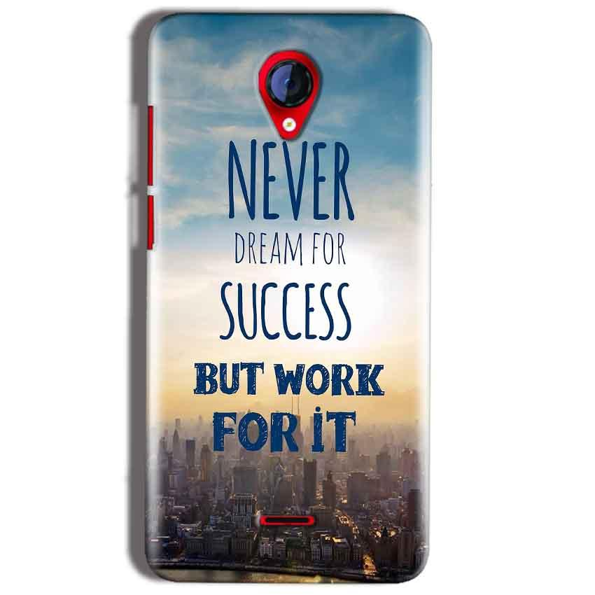 Micromax A106 Unite 2 Mobile Covers Cases Never Dreams For Success But Work For It Quote - Lowest Price - Paybydaddy.com