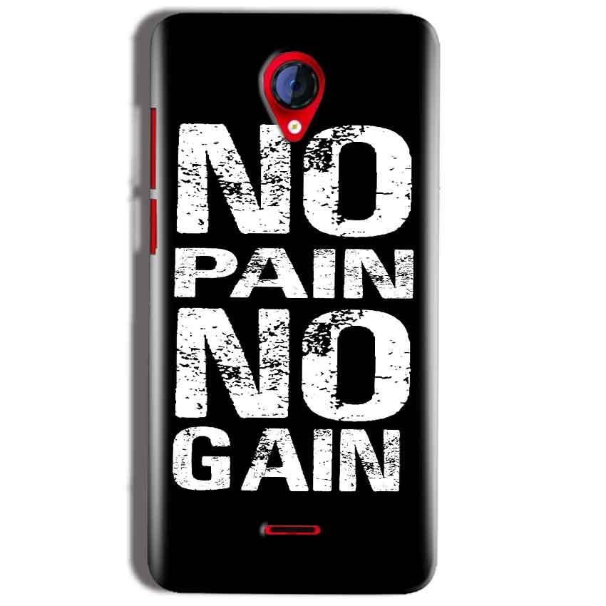 Micromax A106 Unite 2 Mobile Covers Cases No Pain No Gain Black And White - Lowest Price - Paybydaddy.com