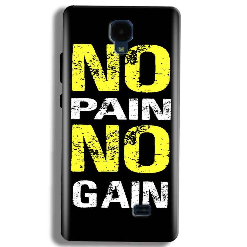 Micromax Bolt Q383 Mobile Covers Cases No Pain No Gain Yellow Black - Lowest Price - Paybydaddy.com