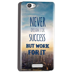 Micromax Canvas Hue 2 A316 Mobile Covers Cases Never Dreams For Success But Work For It Quote - Lowest Price - Paybydaddy.com