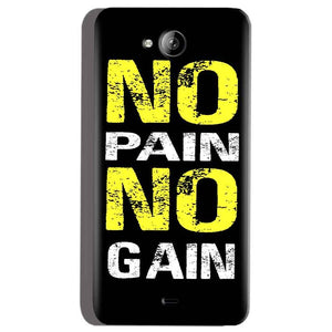 Micromax Canvas Play Q355 Mobile Covers Cases No Pain No Gain Yellow Black - Lowest Price - Paybydaddy.com