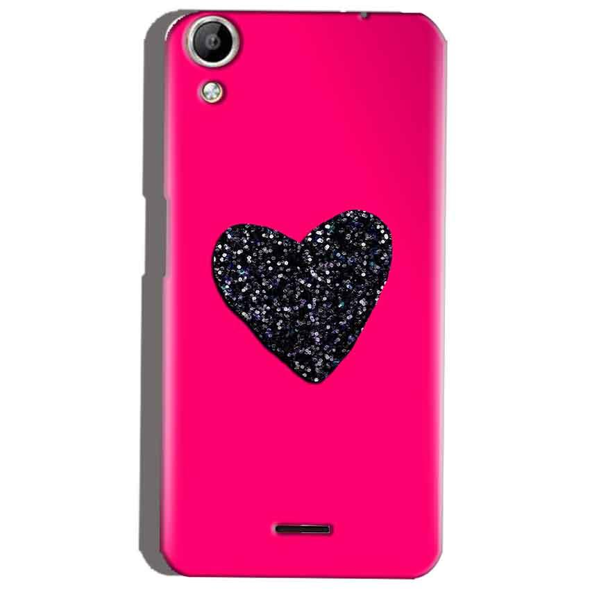 Micromax Canvas Selfie 2 Q340 Mobile Covers Cases Pink Glitter Heart - Lowest Price - Paybydaddy.com