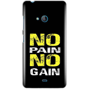 Microsoft Lumia 540 Mobile Covers Cases No Pain No Gain Yellow Black - Lowest Price - Paybydaddy.com