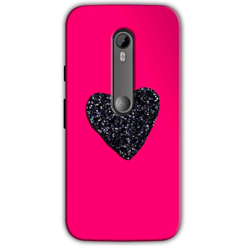 Moto G Turbo Edition Mobile Covers Cases Pink Glitter Heart - Lowest Price - Paybydaddy.com