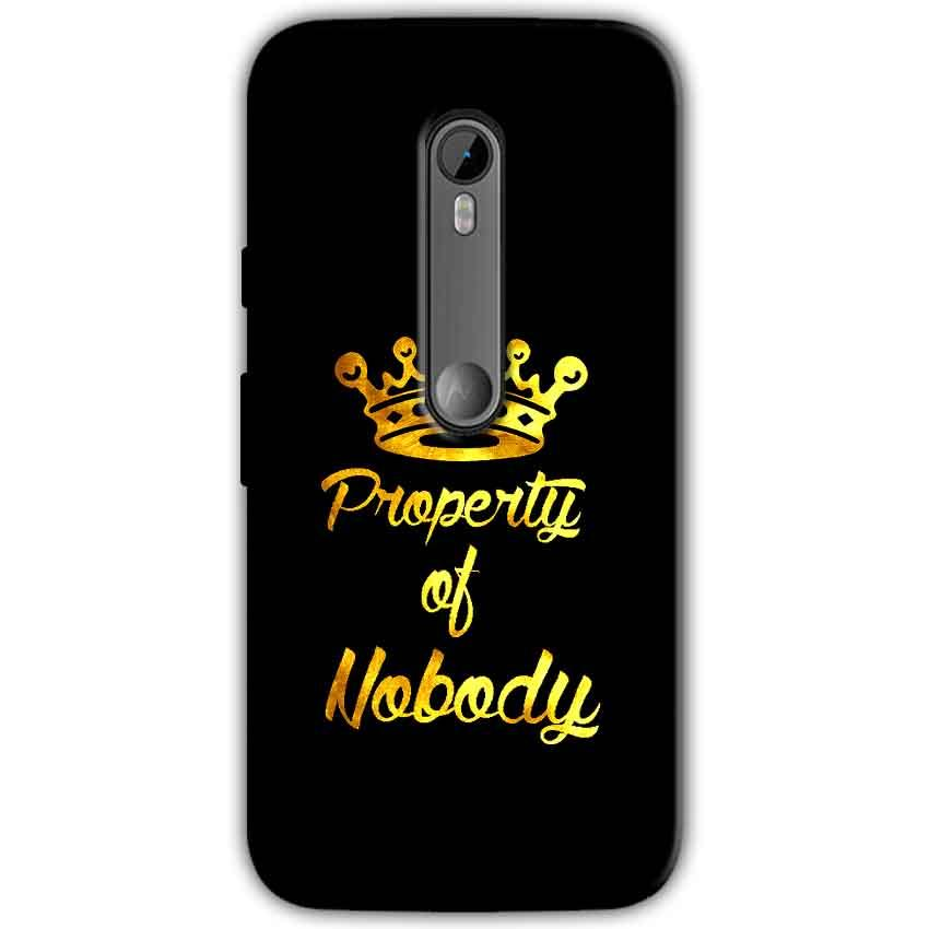 Moto G Turbo Edition Mobile Covers Cases Property of nobody with Crown - Lowest Price - Paybydaddy.com