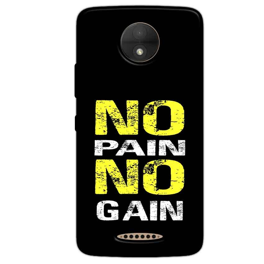 Motorola Moto C Plus Mobile Covers Cases No Pain No Gain Yellow Black - Lowest Price - Paybydaddy.com