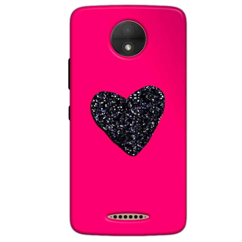 Motorola Moto C Plus Mobile Covers Cases Pink Glitter Heart - Lowest Price - Paybydaddy.com