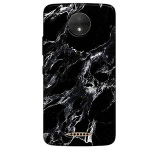 Motorola Moto C Plus Mobile Covers Cases Pure Black Marble Texture - Lowest Price - Paybydaddy.com