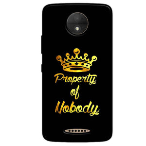 Motorola Moto C Mobile Covers Cases Property of nobody with Crown - Lowest Price - Paybydaddy.com