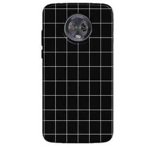 Motorola Moto G6 Mobile Covers Cases Black with White Checks - Lowest Price - Paybydaddy.com
