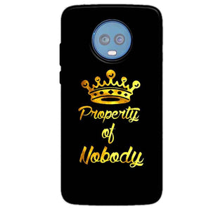 Motorola Moto G6 Plus Mobile Covers Cases Property of nobody with Crown - Lowest Price - Paybydaddy.com