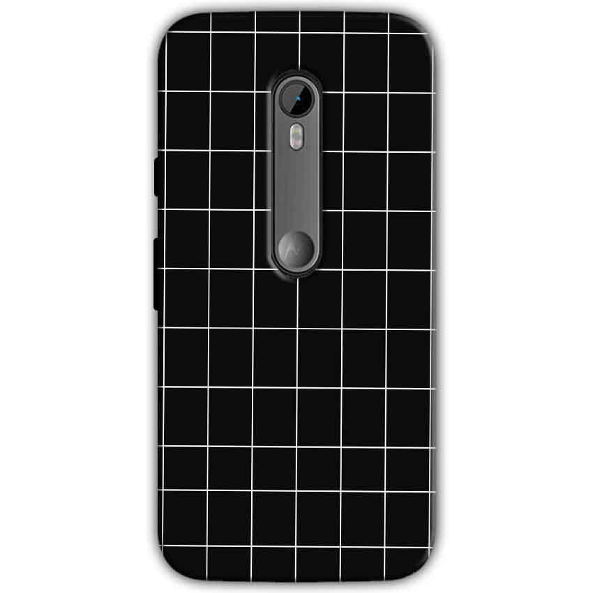 Motorola Moto G 3rd gen Mobile Covers Cases Black with White Checks - Lowest Price - Paybydaddy.com