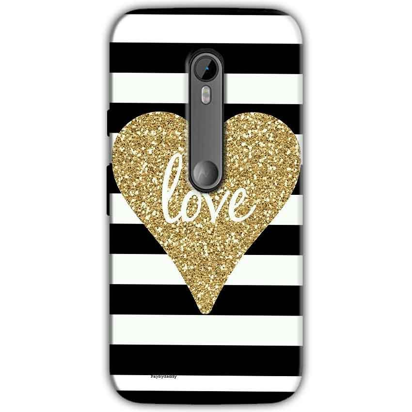 Motorola Moto G 3rd gen Mobile Covers Cases Golden Heart With Love - Lowest Price - Paybydaddy.com